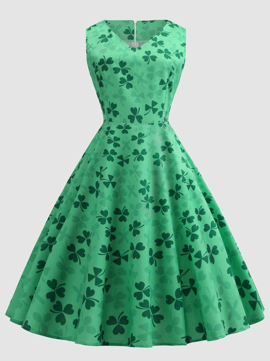 Shamrock V-neck St Patricks Day Dress