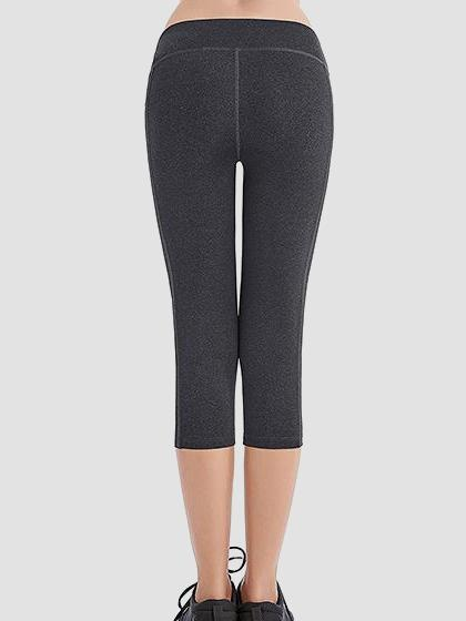 Skinny Capris Yoga Pants With Pockets On Waistband & Sides