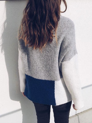 Color Block Pullover Sweater