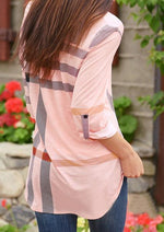V-Neck Plaid Pink Blouse-Blouse-Vivimuses.com