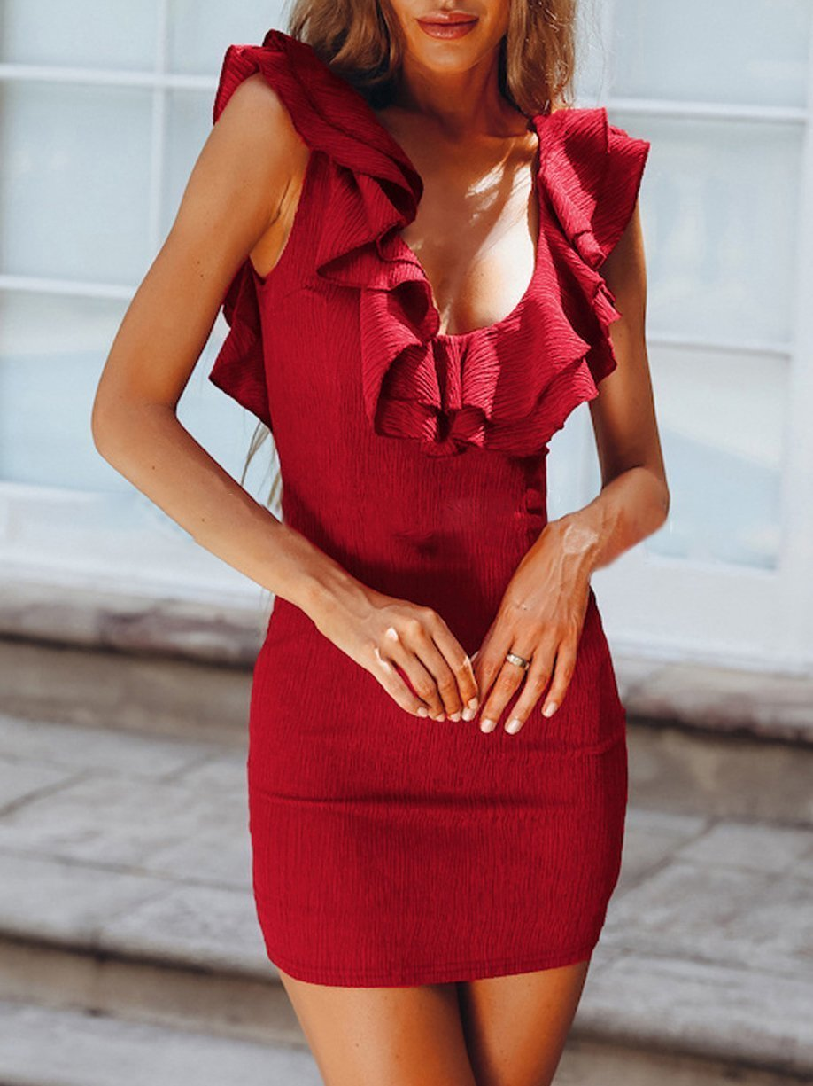 V-Neck Solid Color Lotus Leaf Halter Dress