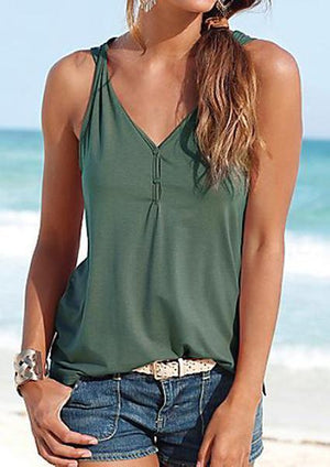 V-neck Button Solid Tanks