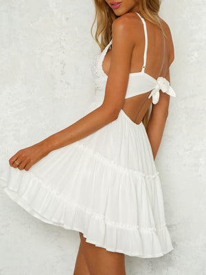 White Lace Slip Tied Dress