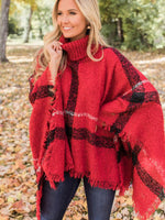 Burberry  Plaid Tassels Batwing Cloak Sweater