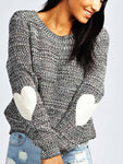 Heart Print O-neck Knit Sweater