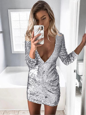 Deep V Sequined Bodycon Dress
