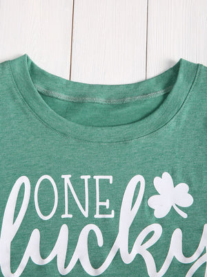 One Lucky Mama Letter T-Shirt