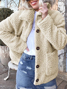 Teddy Fur Horn Button Cropped Coat