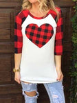 Plaid Heart Three Quarter Sleeve Baseball T-Shirt