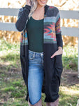 Irregular Printed Hooded Cardigan
