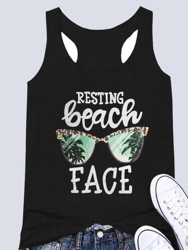 Resting Beach Face Printed Tanks
