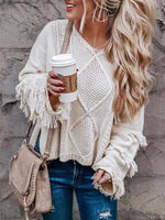 Solid Color Tassel Sweaters