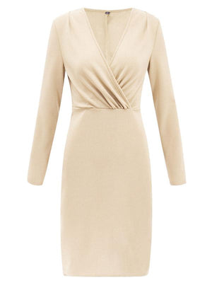 Deep V-Neck Pleated Long Sleeve Party Dress