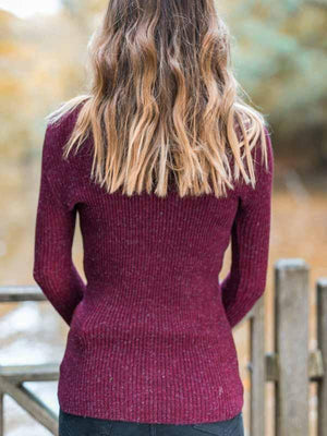 High-neck Long-sleeve Slim Knit Sweater
