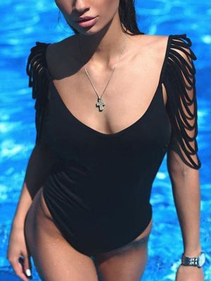 Tasseled Backless One Piece Swimsuit