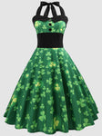 Shamrock Print Lace Up St Patricks Day Dress