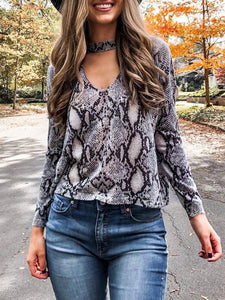Snake Print V-neck Hollow Blouse