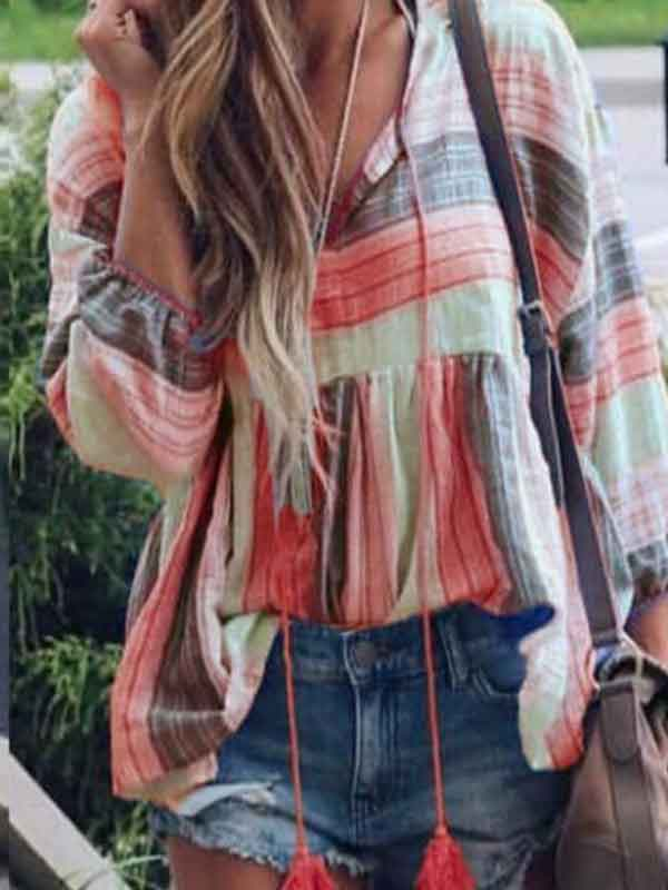 Flared Sleeve Tassel Trim Short T-shirt