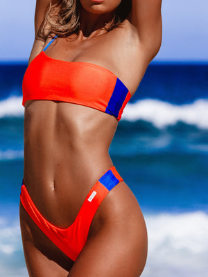 One-Shoulder Sling Split Bikini Set
