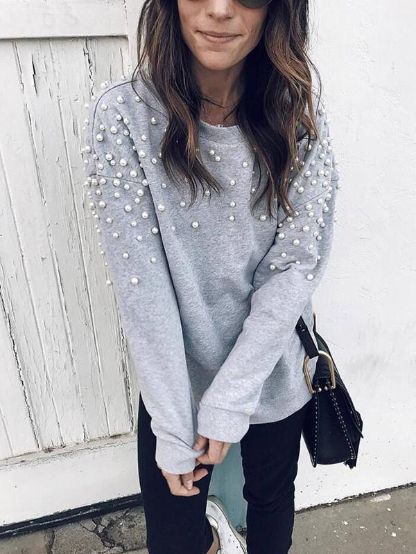 Casual Nail Bead Design Sweatshirt