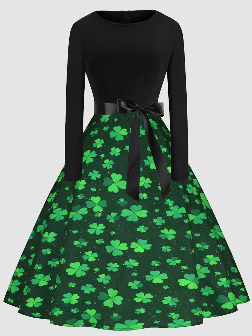 Shamrock O-neck St Patricks Day Dress