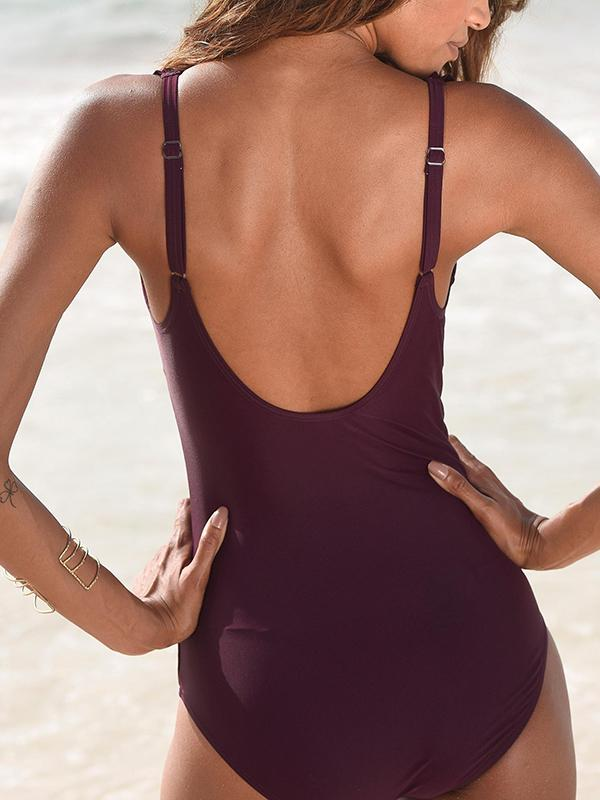 Ruffled Solid Color One Piece Swimsuit