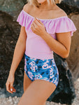 Ruffled Floral Printed One-pieces Swimsuit