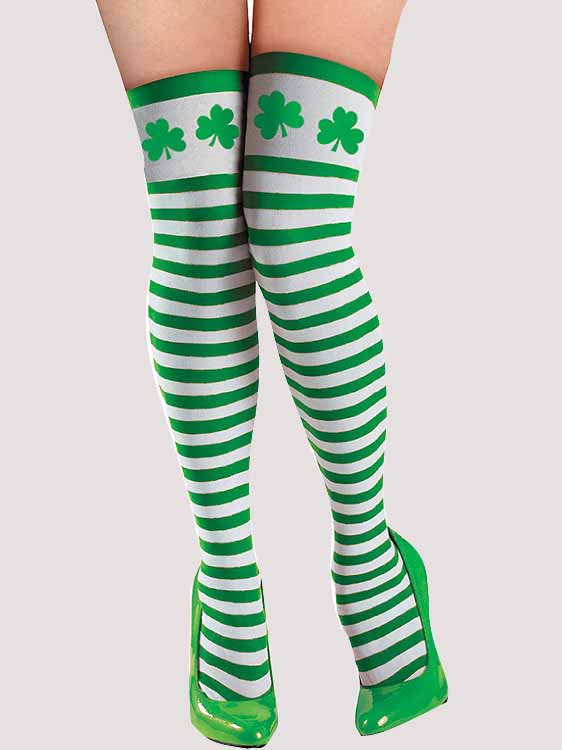 Shamrock Striped St. Patricks Day Socks