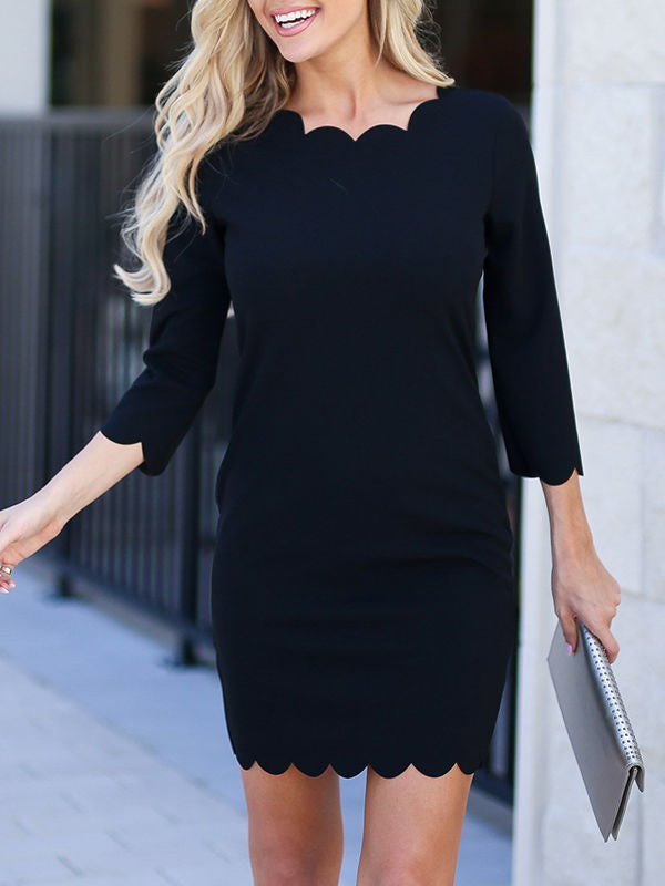 Free Shipping Black Petal Mini Dress