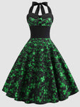 Shamrock Sleeveless St Patricks Day Swing Dress