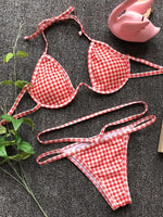 Plaid Halter Bikini Set