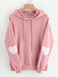 Heart Design Drawstring Pocket Hoodies