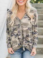Vivimuses.com Blouse Army green / S V-neck Cardigan Button Camouflage Blouse