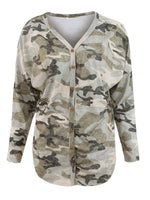 Vivimuses.com Blouse V-neck Cardigan Button Camouflage Blouse