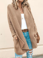 Vivimuses.com Cardigans & Coats Khaki / One Size Long Sleeve Open Front Pocket Cardigan
