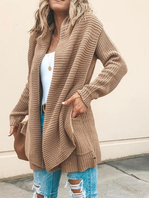 Vivimuses.com Cardigans & Coats Long Sleeve Open Front Pocket Cardigan
