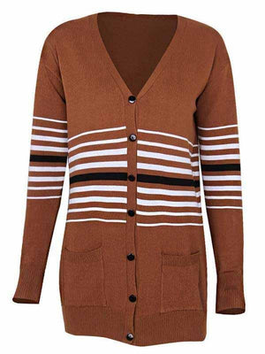 Vivimuses.com Cardigans & Coats Striped Button Pocket V-Neck Sweater