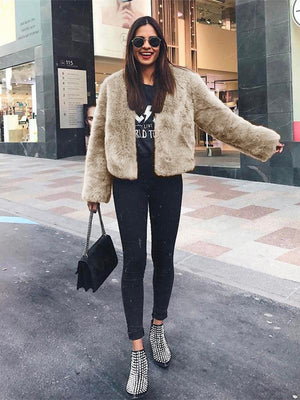 Vivimuses.com Coats&Jackets Faux Fur Long Sleeve Jacket