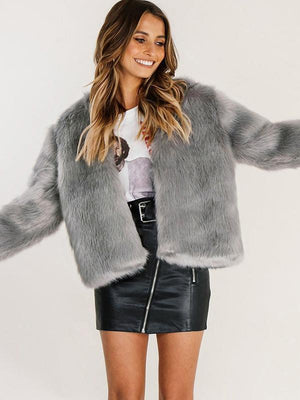 Vivimuses.com Coats&Jackets Grey / S Faux Fur Long Sleeve Jacket