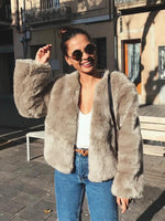 Vivimuses.com Coats&Jackets Khaki / S Faux Fur Long Sleeve Jacket