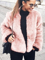 Vivimuses.com Coats&Jackets Pink / S Faux Fur Long Sleeve Jacket
