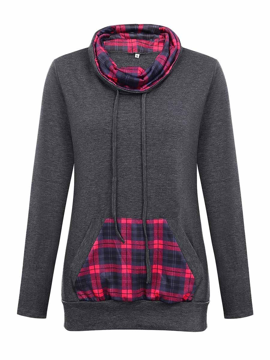 Vivimuses.com Hoodies & Sweatshirts Plaid  Geometric Cowl Neck Hoodie