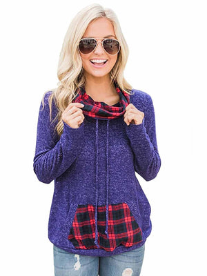 Vivimuses.com Hoodies & Sweatshirts Purple / S Plaid  Geometric Cowl Neck Hoodie