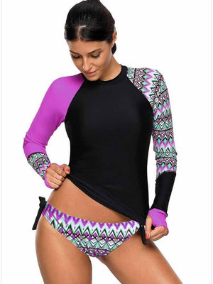 Vivimuses.com Tankinis Purple / S Long Sleeve Splice Peinted Tankinis