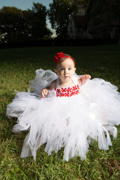 White with Red Stars Tutu Dress