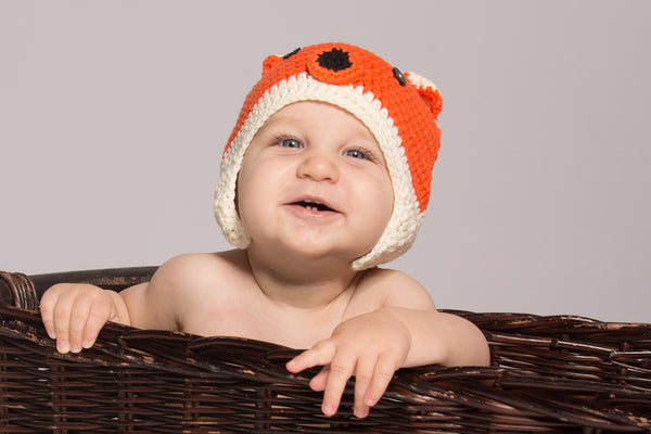 Fox Crochet Hat for Babies, Toddlers and Children (Orange, White)