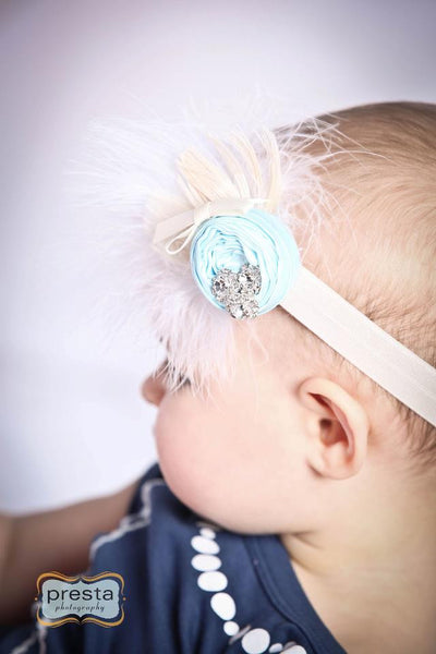 Baby Blue Feather Rosette Headband