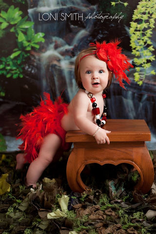 Red Feather Bloomer and Headband