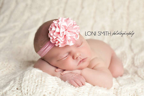 Baby Pink Lily Satin Rosette Headband