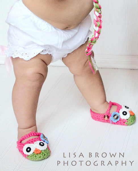 Pink and Green Crochet Owl Booties